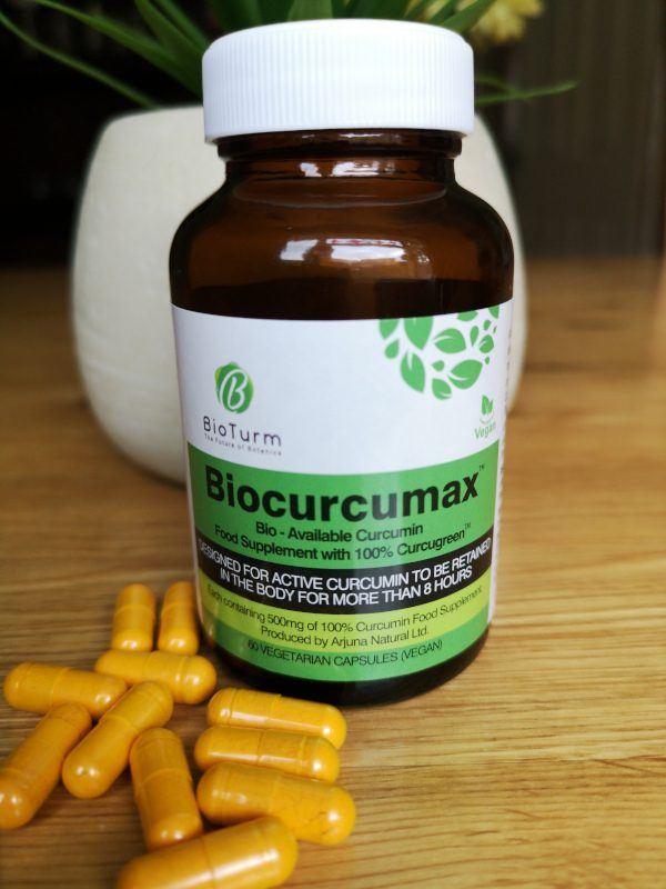 A bottle of Biocurcumax, 100% BCM-95. The most bioavailable curcumin extract on the planet